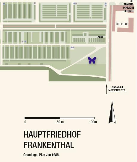 Lage der Grabstätte auf dem Frankenthaler Friedhof